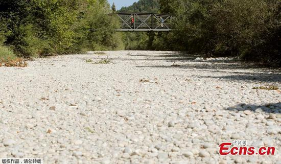 Swiss river dries up amid heatwave